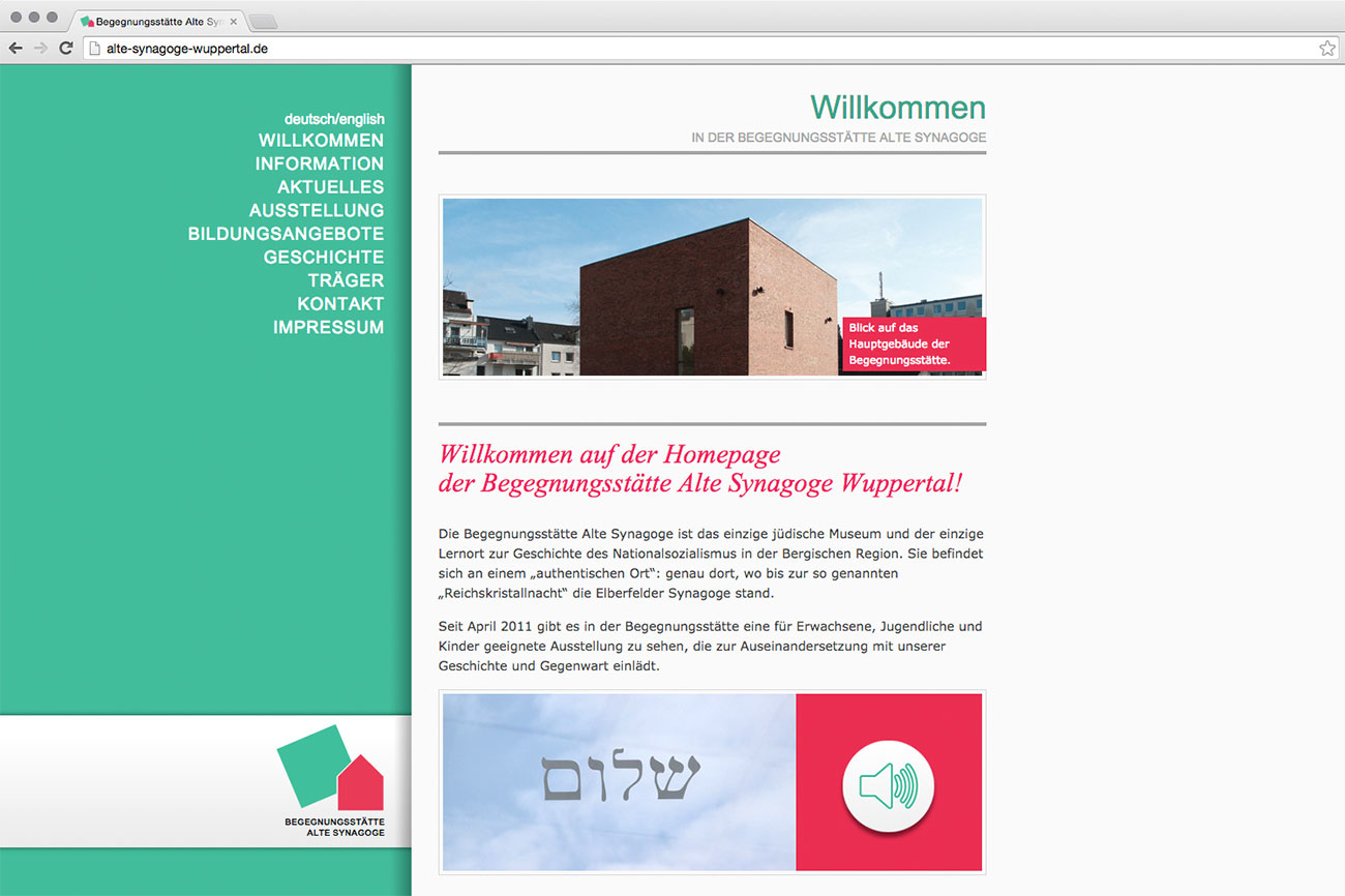 Webseite Alte Synagoge Wuppertal